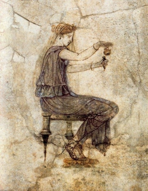 Etruscan Perfume girl filling a perfum vial from an aryballos A fragment of a Wall fresco near Tiber 1 st cent BC
