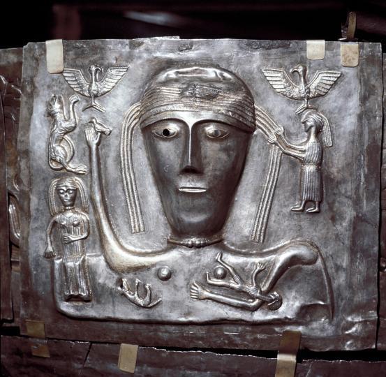 W7D0WK Gundestrup Cauldron, Celtic Goddess with eagles, Danish, c100 BC. Artist: Unknown